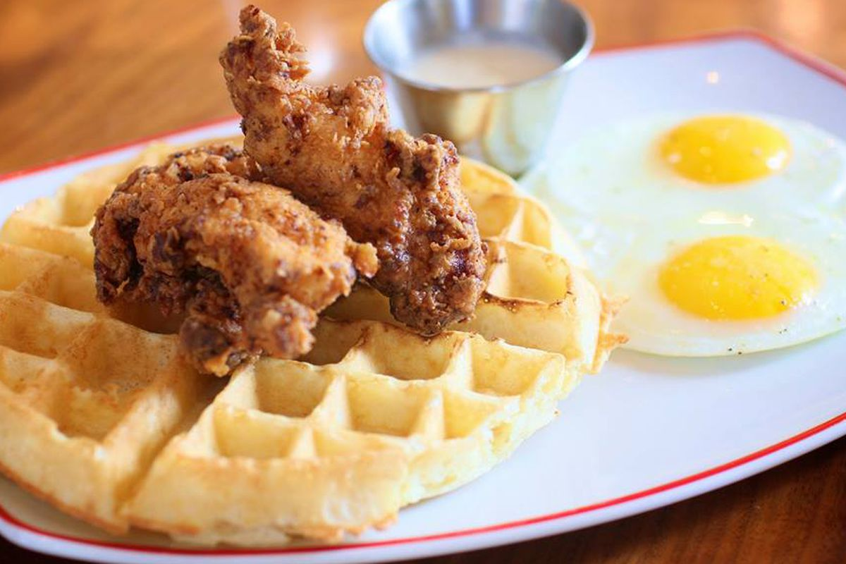 Chicken and waffles from Founding Farmers