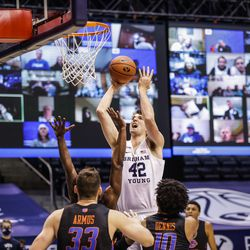 BYU's Richard Harward goes up for a shot against Boise State at the Marriott Center in Provo, Utah on Dec. 9, 2020.