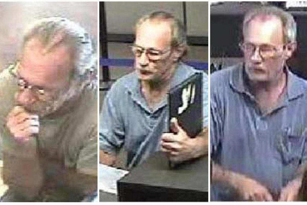 FILE - These surveillance photos provided by the Federal Bureau of Investigation's St. Louis Division shows a serial bank robber dubbed the Bucket List Bandit on, from left: June 21, June 27 and July 6, 2012.  The bank robbery suspect been captured in Okl