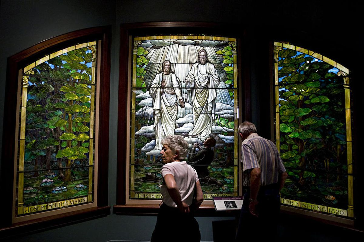 A stained glass window depicting the First Vision, which was once at a chapel in the Los Angeles area is on display at the Church HIstory Museum of the Church of Jesus Christ of Latter-day Saints in Salt Lake City, Utah Friday, Sept., 4, 2009.  Mike Terry