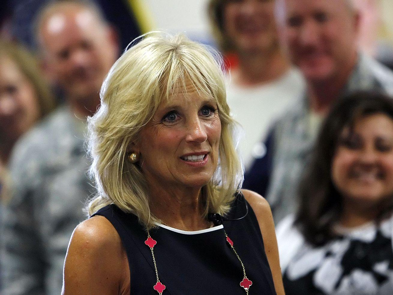 Jill Biden wife of Vice President Joe Biden stops to visit military families at the Utah National Guard base in Salt Lake City July 10, 2012.