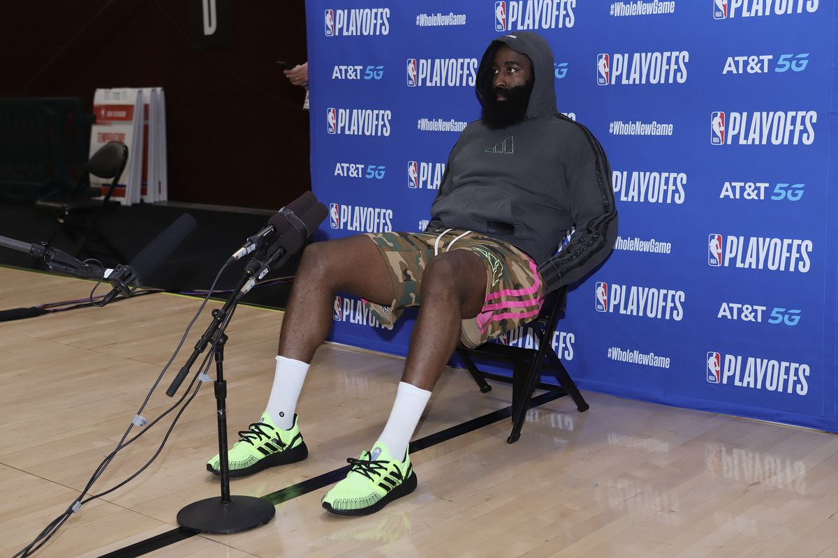 James Harden of the Houston Rockets speaks to the media after the game against the Los Angeles Lakers in Game five of the second round of the 2020 Playoffs as part of the NBA Restart 2020 on September 12, 2020 at AdventHealth Arena at ESPN Wide World of Sports Complex in Orlando, Florida.
