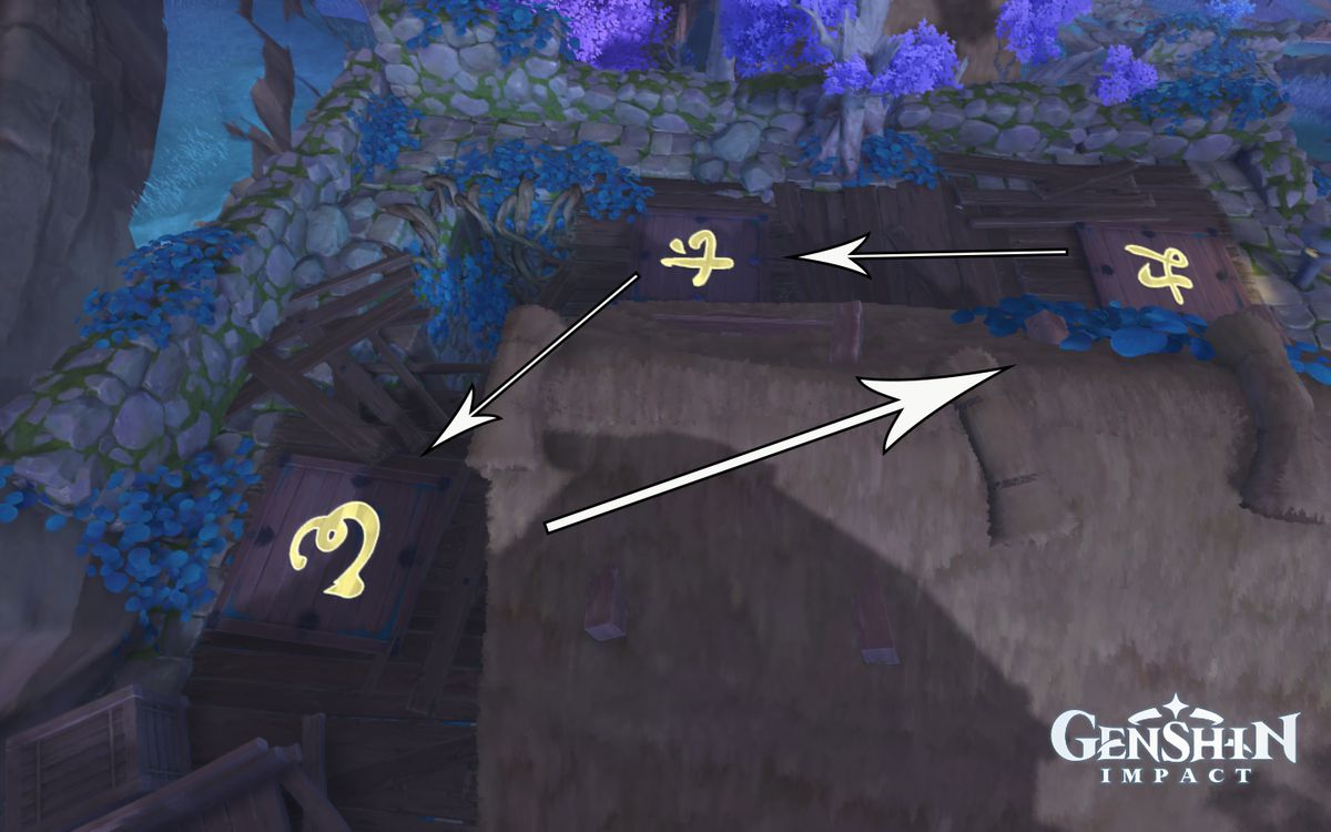 Arrows point to where to step on tiles in Genshin Impact for the Relics of Seirai quest outside the house