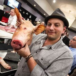 Michael Mina Group's David Varley was back in town. And he had a pig head.