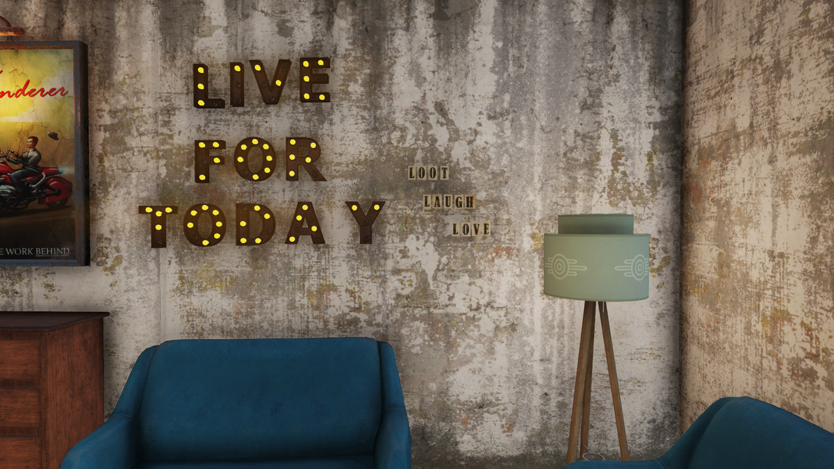 light-up 'LIVE FOR TODAY' sign on wall along with 'Loot Laugh Love' letters