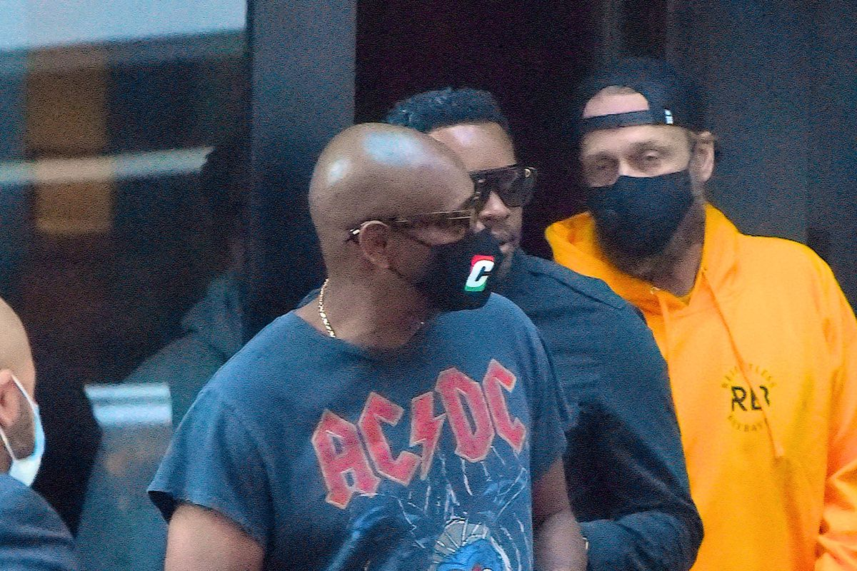 Dave Chappelle is seen with staff before rehearsal for SNL at NBC Studio in Midtown Manhattan on November 7, 2020 in New York City.