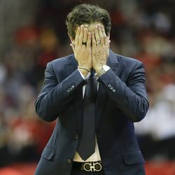 Utah Jazz head coach Quin Snyder reacts after a foul was called against his team during the first half of an NBA basketball game against the Houston Rockets, Sunday, Feb. 9, 2020, in Houston.