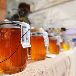 Honey for sale at the Wheeler Historic Farm farmers market in Murray on Sunday, July 25, 2021.