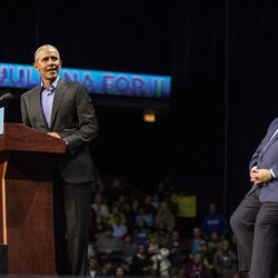 Former President Barack Obama and J.B. Pritzker at UIC Pavilion Sunday. | Ashlee Rezin/Sun-Times