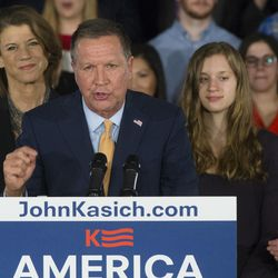 Republican presidential candidate, Ohio Gov. John Kasich speaks alongside his wife Karen, left, and daughters Emma, center right, and Reese, right,  during a watch party at the Renaissance Columbus Downtown Hotel, Tuesday, March 8, 2016, in Columbus, Ohio. (AP Photo/John Minchillo)