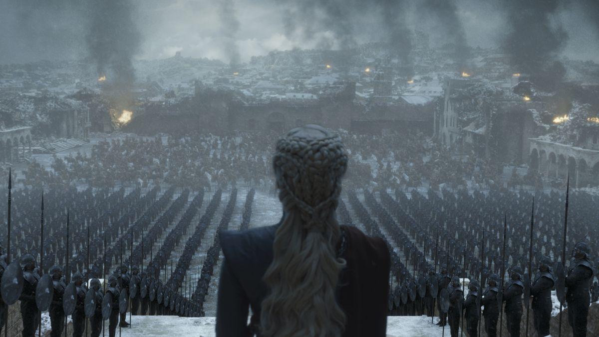 "Daenerys Targaryen of ""Games of Thrones"" surveys her army."