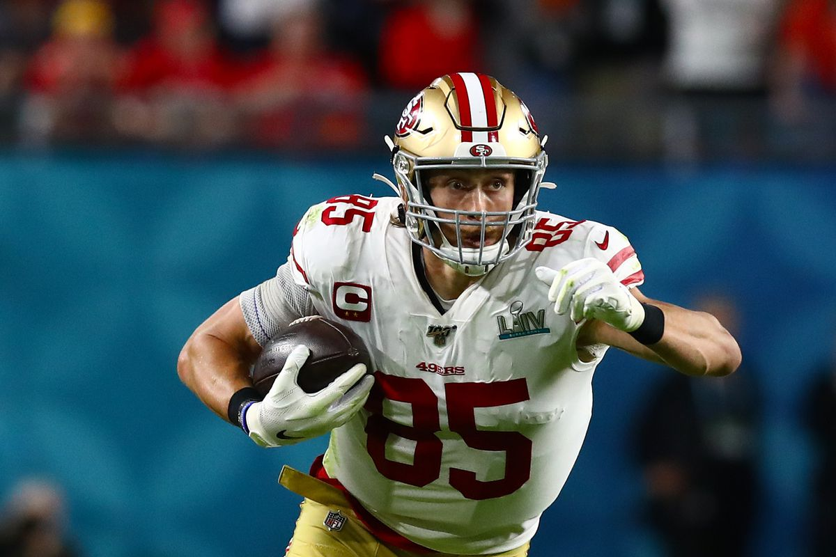 San Francisco 49ers tight end George Kittle runs after a reception against the Kansas City Chiefs in Super Bowl LIV at Hard Rock Stadium.