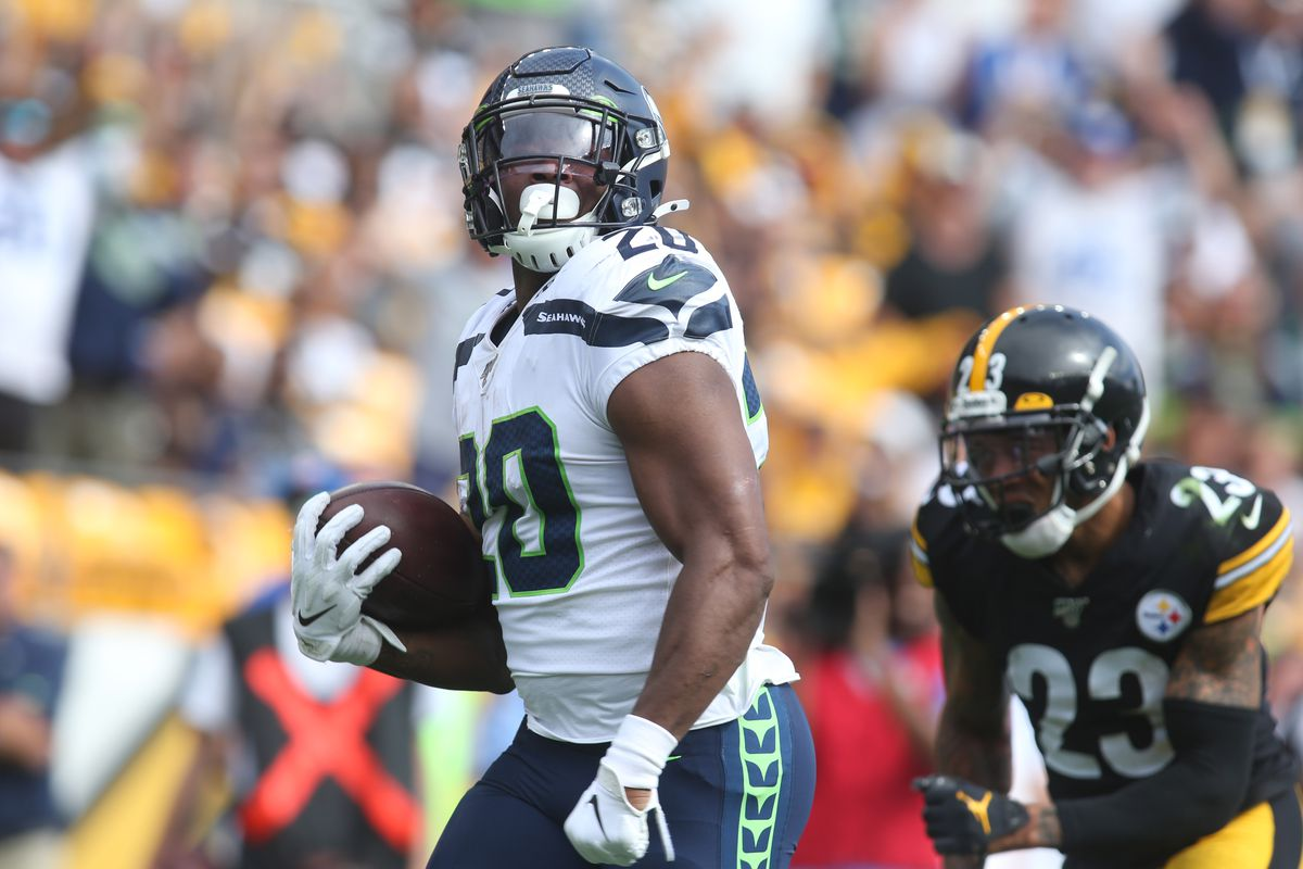 Seattle Seahawks running back Rashaad Penny scores a thirty seven yard touchdown against the Pittsburgh Steelers during the third quarter at Heinz Field.