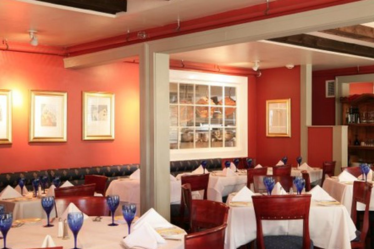The dining room at Antica Posta.