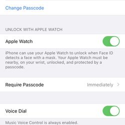 <em>Toggling Apple Watch under Unlock with Apple Watch turns the feature on.</em>