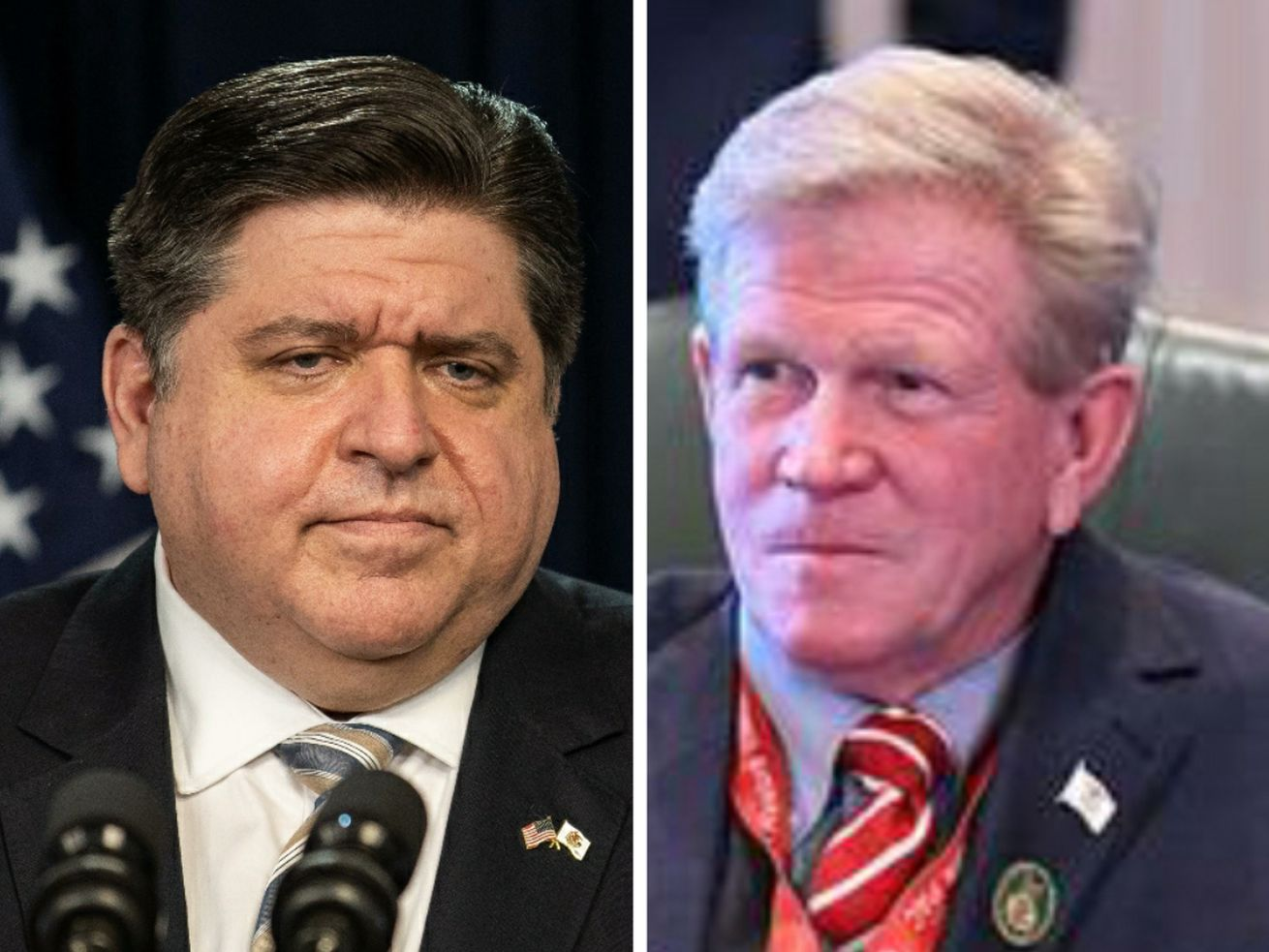 Gov. J.B. Pritzker, left, listens during a news conference Thursday; State Rep. Chris Miller, right, at an Illinois House session in 2019.