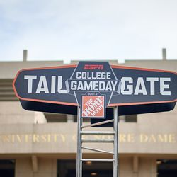 SOUTH BEND, IN - SEPTEMBER 01: A detailed view of the ESPN College Gameday Tailgate sign is seen outside of Notre Dame Stadium prior to game action during the college football game between the Michigan Wolverines and the Notre Dame Fighting Irish on September 1, 2018 at Notre Dame Stadium, in South Bend, Indiana. The Notre Dame Fighting Irish defeated the Michigan Wolverines by the score of 24-17.