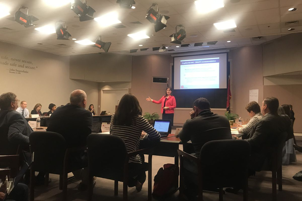 Tennessee Education Commissioner Candice McQueen leads her 2017-18 testing task force in its fourth meeting Monday in Nashville.