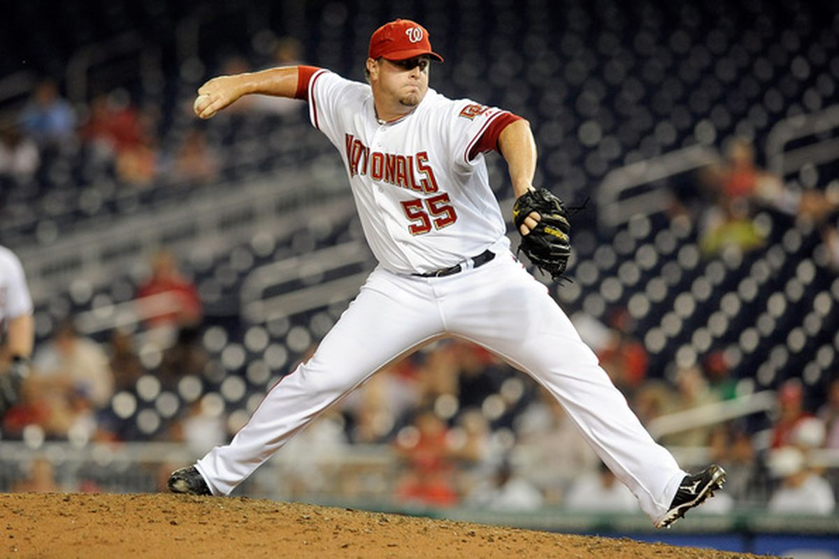 WASHINGTON - JULY 06:  Matt Capps #55 of the Washington Nationals pitches against the San Diego Padres at Nationals Park on July 6 2010 in Washington DC.  (Photo by Greg Fiume/Getty Images)