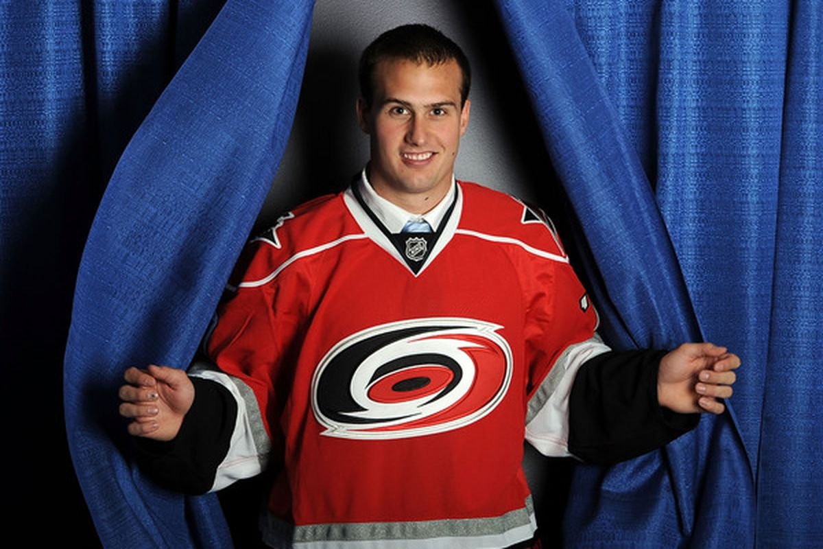 LOS ANGELES, CA - JUNE 26:  Danny Biega, drafted in the third round by the Carolina Hurricanes, poses for a portrait during the 2010 NHL Entry Draft at Staples Center on June 26, 2010 in Los Angeles, California.  (Photo by Harry How/Getty Images)