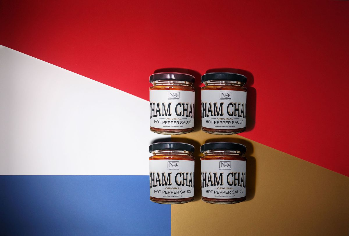 Nim's Din Cham Cham hot pepper sauce is a rich Scotch bonnet-heavy pepper sauce that is ideal for all hot sauce enthusiasts this Christmas - a perfect stocking filler