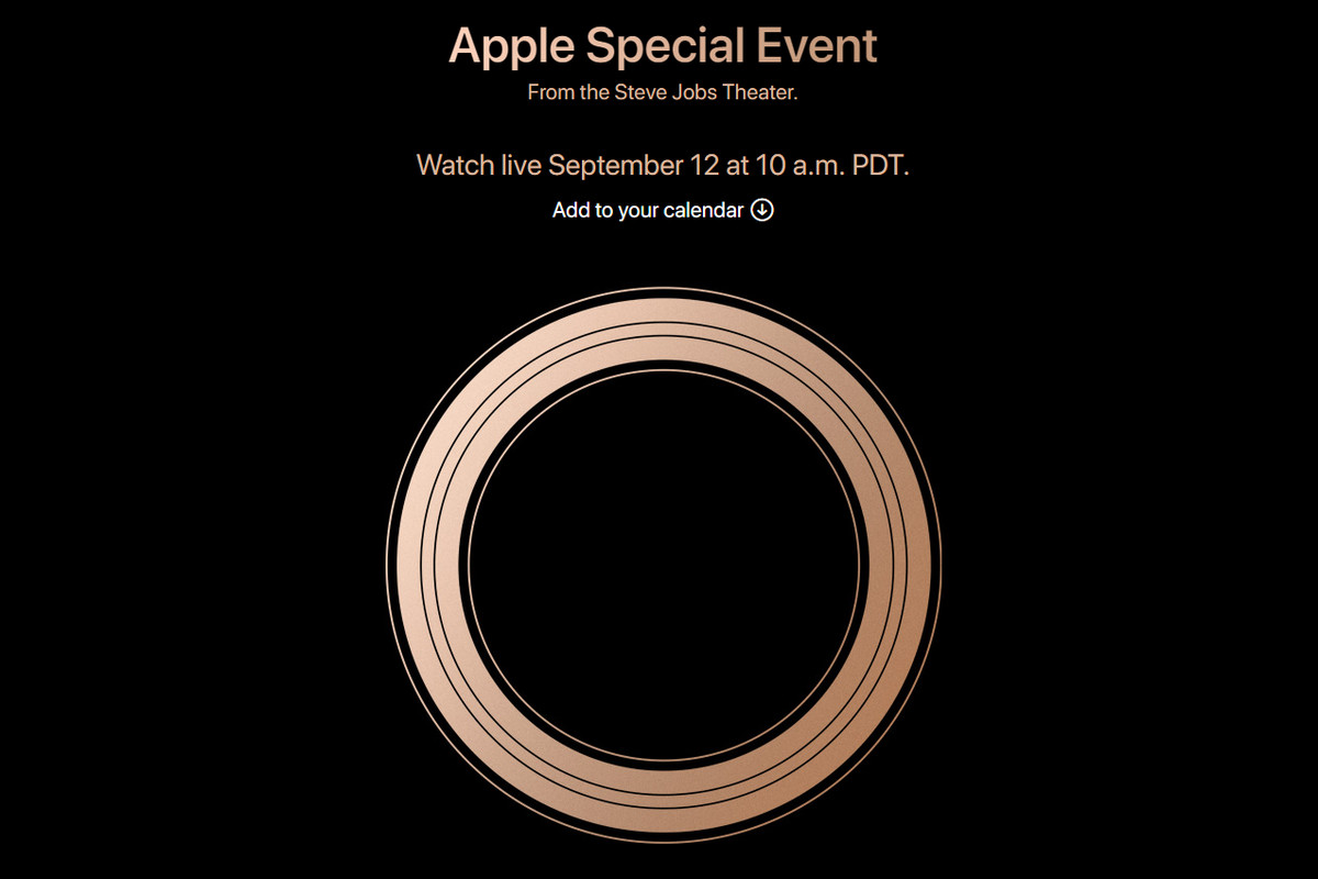 Apple Special Event invitation cover featuring a large gold ring