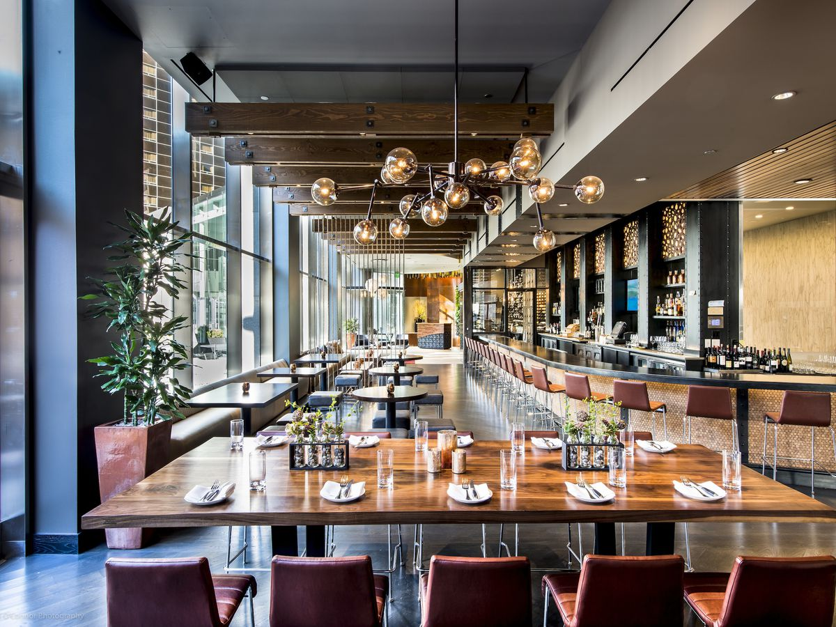 Swanky contemporary steakhouse bar