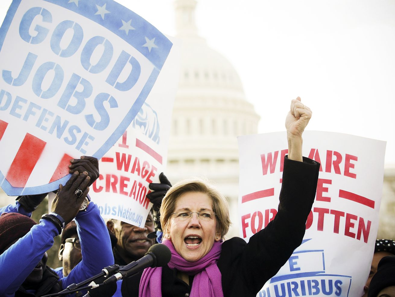 "Sen. Elizabeth Warren (D-MA) speaks during a rally ""to fight back against the Republican war on the working class"" on February 16, 2017."
