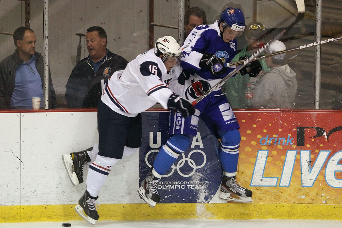 Reid Boucher, throwing a check at the international level.