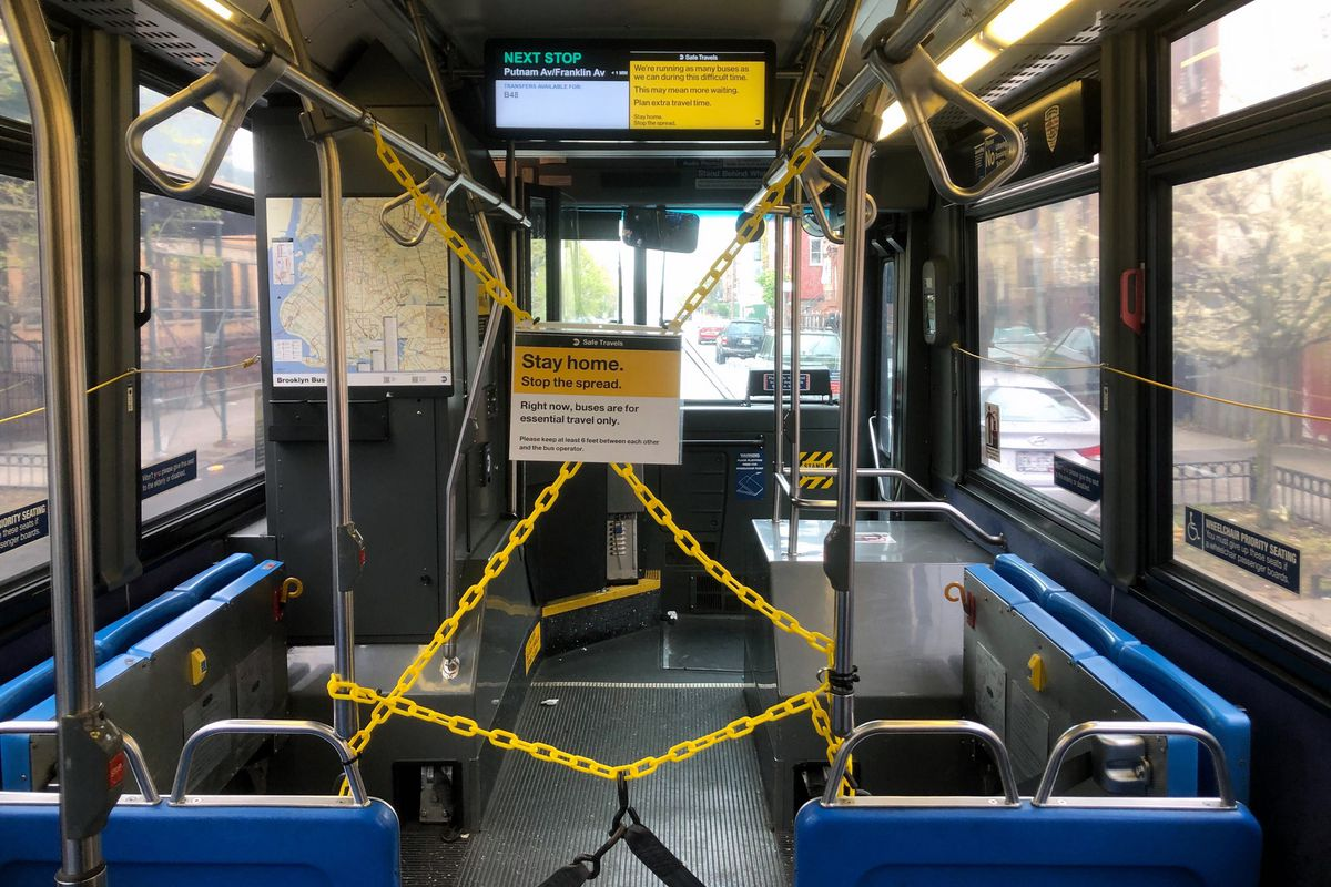 The MTA has installed chains to try to keep passengers separated from bus drivers during the pandemic.