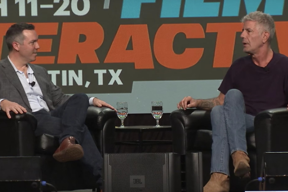 nathan thornburgh and anthony bourdain at sxsw 2016 sxswyoutube - Raised Panel Restaurant 2016