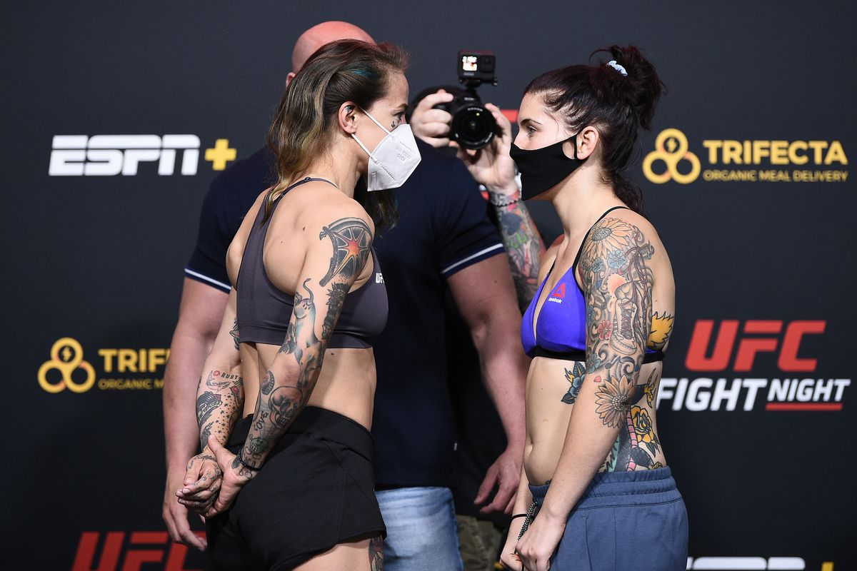 Opponents Jessica-Rose Clark and Sarah Alpar face off during the UFC Fight Night weigh-in at UFC APEX on September 18, 2020 in Las Vegas, Nevada.