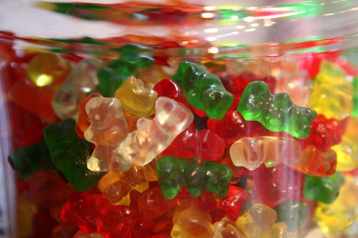 a jar full of gummy bears