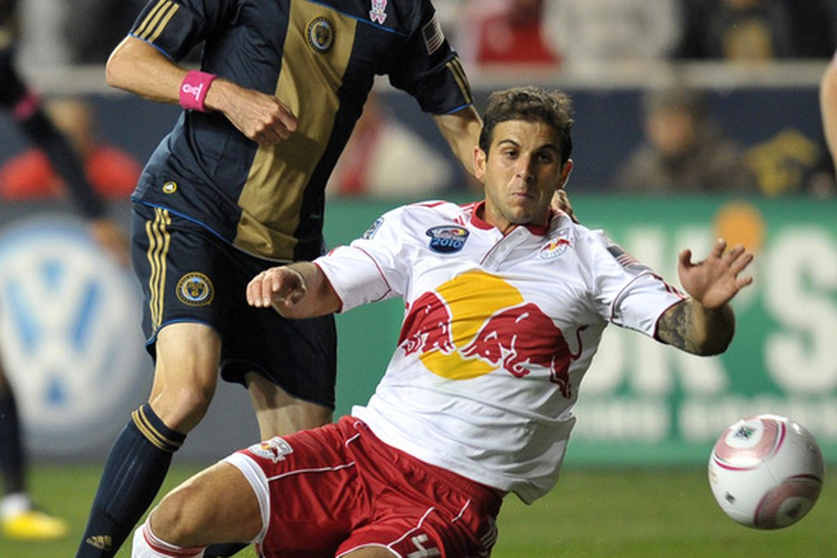CHESTER PA- OCTOBER 16: Carlos Mendes #44 of the New York Red Bulls blocks a shot by Sebastien Le Toux #9 of the Philadelphia Union at PPL Park on October 16 2010  in Chester Pennsylvania. (Photo by Drew Hallowell/Getty Images)