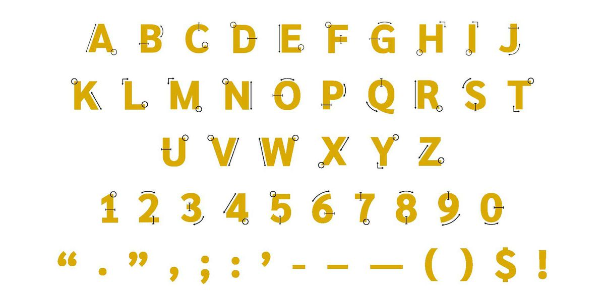 full drop cap system with characters, numerals, and punctuation marks