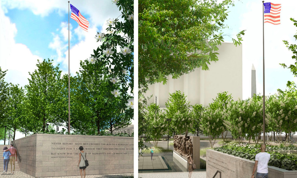 A rendering of a flagstaff at a park memorial.