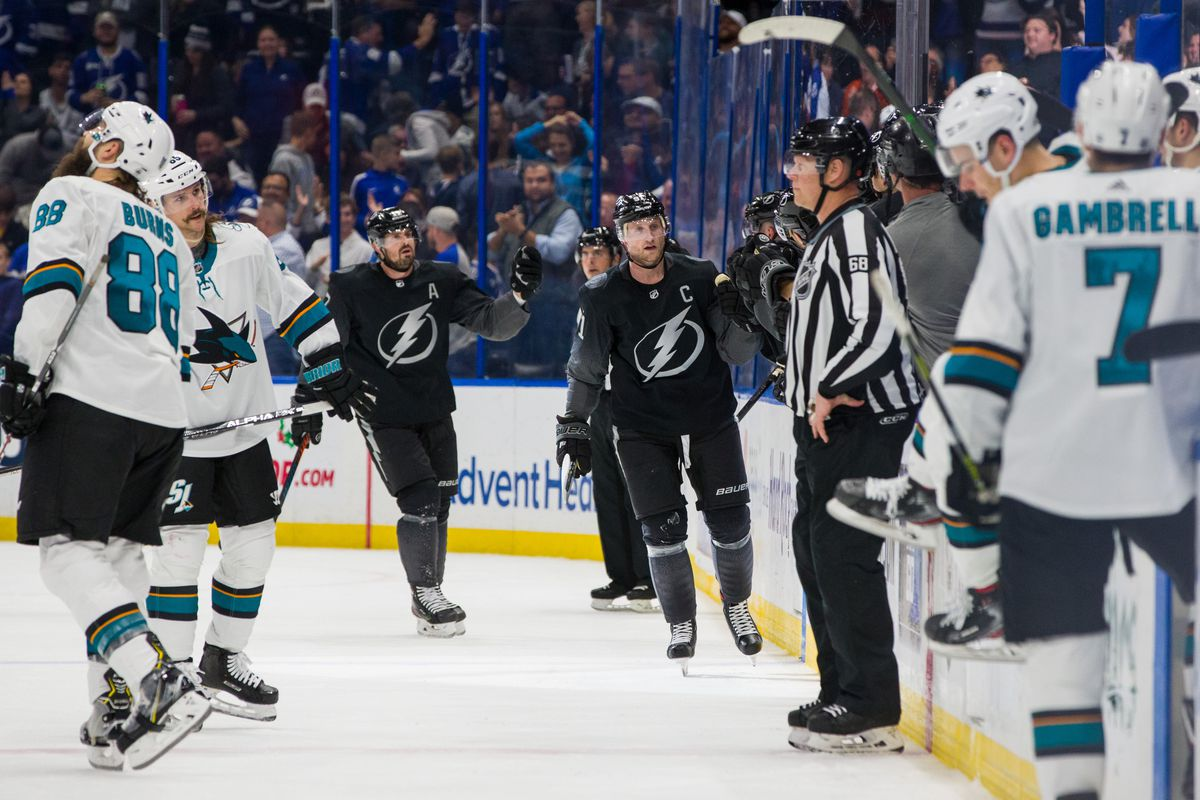 Steven Stamkos #91 of the Tampa Bay Lightning celebrates his goal against the San Jose Sharks during the second period at Amalie Arena on December 7, 2019 in Tampa, Florida.