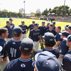 BYU coach Mike Littlewood talks to his players during the Cougars' 13-2 loss to Cal State Fullerton in NCAA baseball tournament action on Thursday, June 1, 2017, at Klein Field at Sunken Diamond in Stanford, California.