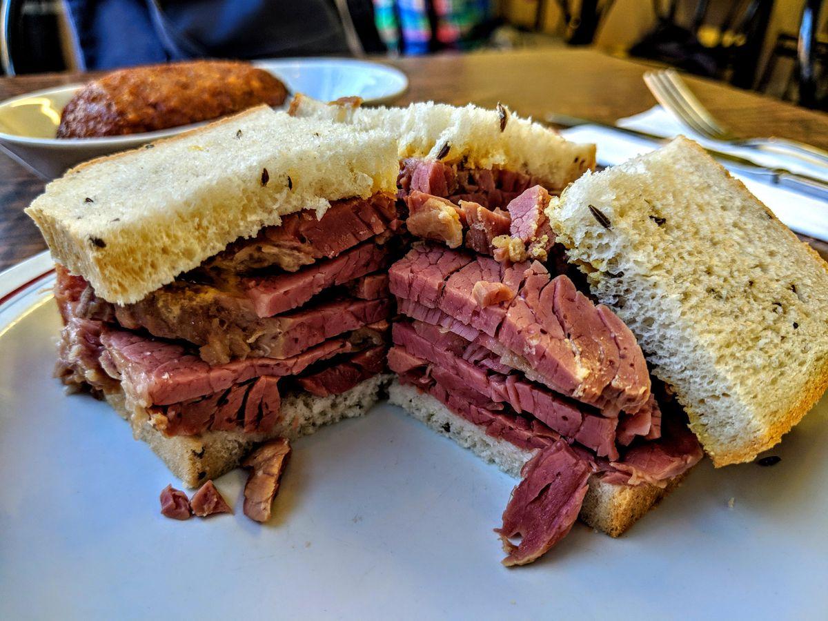 Salt beef sandwich at The Salt Beef Bar, a Jewish deli in Golders Green, London