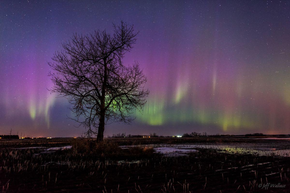 Aurora borealis seen in Legal, Alberta, Canada on March 17, 2015.