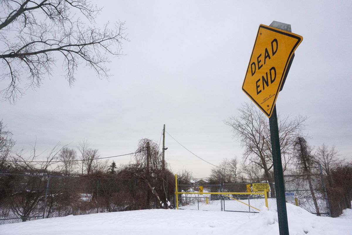 The U.S. Army Corps of Engineers plans to build a floodwall around the Oakwood Wastewater Treatment Plant, but the area requires a cleanup of radiation that came from nearby Great Kills Park, Feb. 12, 2021.