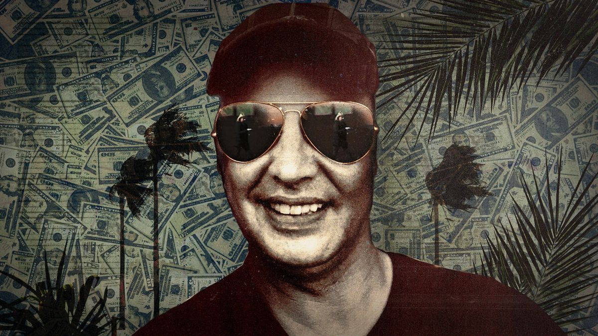 A man in sunglasses against a patterned background.