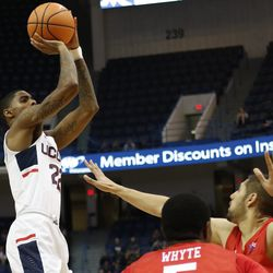 UConn's Terry Larrier (22) puts up a shot in the first half.