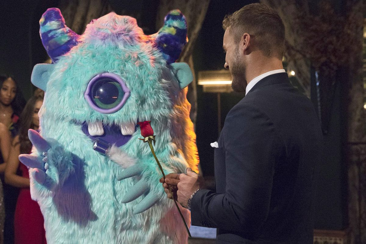The Bachelor offering a rose to Monster