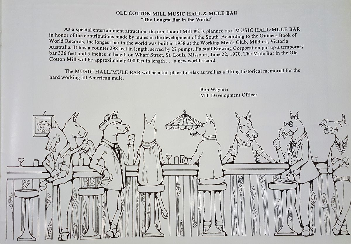 A description of the Mule Bar plan above a sketch of eight mules surrounding a bar, drinking and serving cocktails.