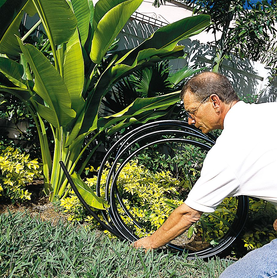 Man Rolling Out Irrigation Tubing On Lawn For Sprinkler System