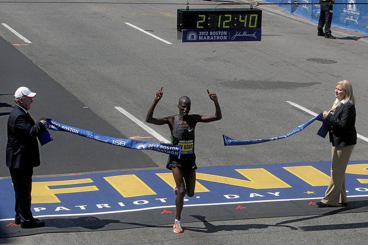 BOSTON, MA - APRIL 16: Wesley Korir of Kenya wins the men's division of the 116th Boston Marathon on  the April 15, 2012  in Boston, Massachusetts. (Photo by Jim Rogash/Getty Images)