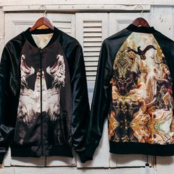 """<b>Sons of Heroes</b> Reversible Bomber in Myth Hero/Dancing Tiger, <a href=""""http://www.internationalplayground.com/men/sons-of-heroes-reversible-bomber-in-myth-hero-dancing-tiger.html""""> $598</a>"""