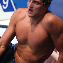 Markus Deibler of Germany reacts after competing during the Swimming Men's 200m Medley preliminaries .