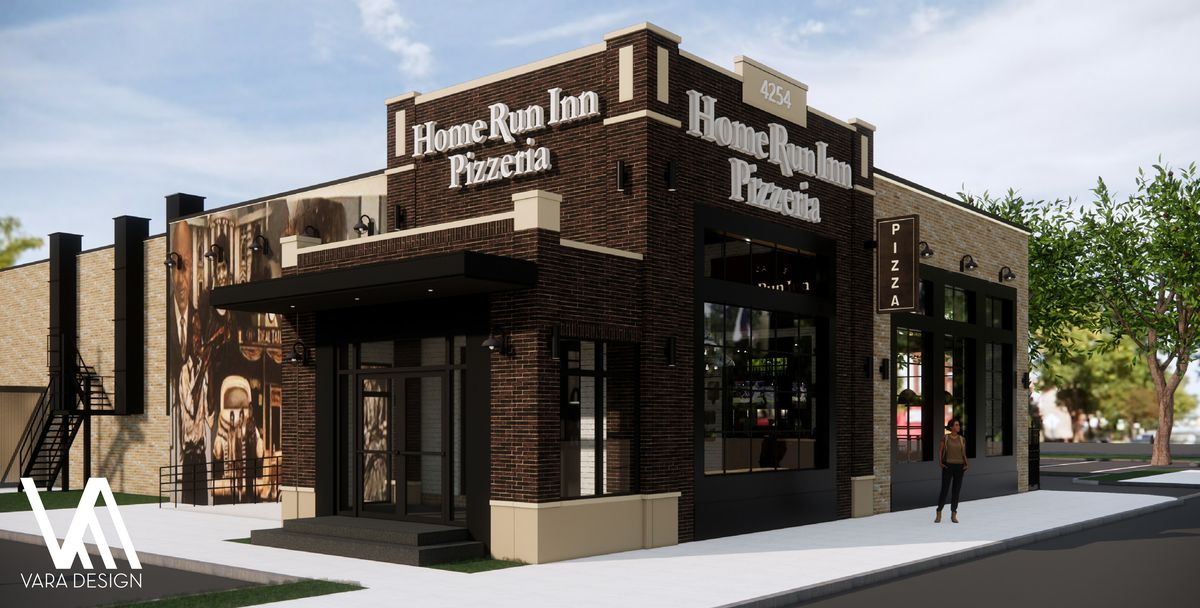 A corner rendering of the new pizzeria with brown sides and a patio.